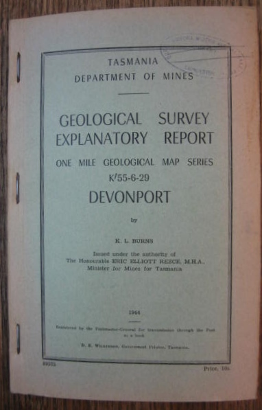 Image for Geological Survey Explanatory Report. DEVONPORT. (One Mile Geological Map Series K'55-6-29)