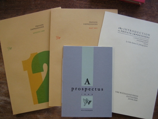 Image for Private Impressions: a collection of eight monographs about printing and other book arts (with Introductions and prospectuses).