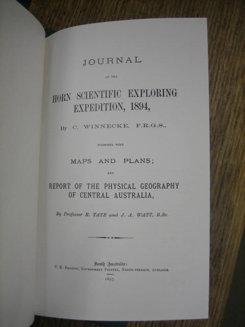 Image for Journal of the Horn Scientific Exploring Expedition, 1894, together with maps and plans; and a Report of the Physical Geography of Australia by Professor R. Tate and J.A. Watt.