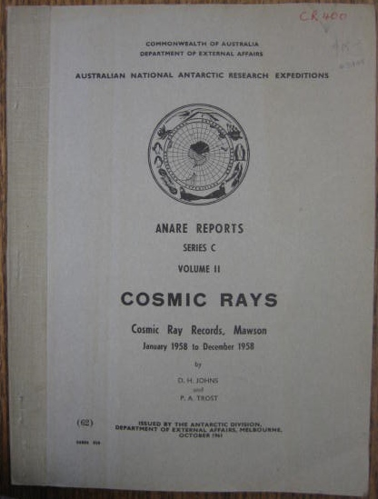 Image for Cosmic Ray Records, Mawson [Antarctica]. January 1958 to December 1958.