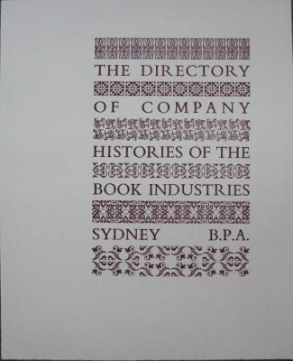 Image for The Directory of Company Histories of the Book Industries.