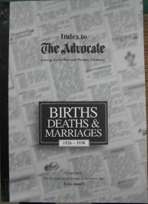 Image for Index to The Advocate : Births, Deaths and Marriages 1926-1930.