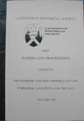 Image for Launceston Historical Society : Papers and Proceedings Volume One, 1989.
