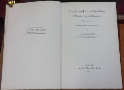 Image for Floris and Blancheflour : a Middle-English romance. Edited from the Trentham and Auchinleck MSS.