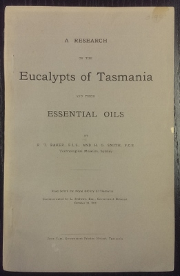 Image for A Research on the Eucalypts of Tasmania and their essential oils.