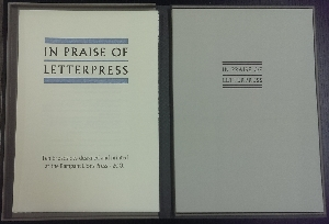 Image for In Praise of Letterpress : ten broadsides designed and printed at the Rampant Lions Press.